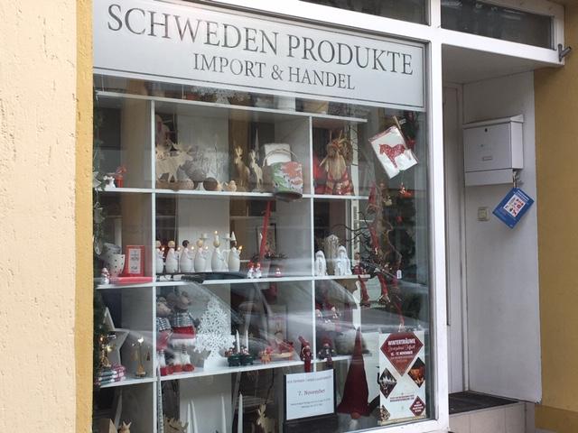 Schaufenster in den Shop mit Schwedischen Produkten